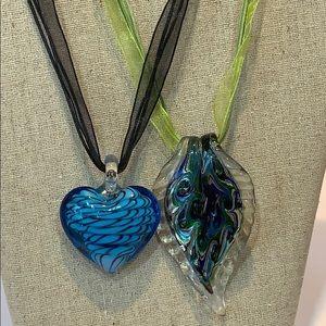 2 art glass blue heart peacock like design ribbon
